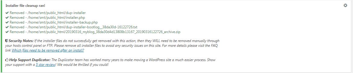 arquivos removidos