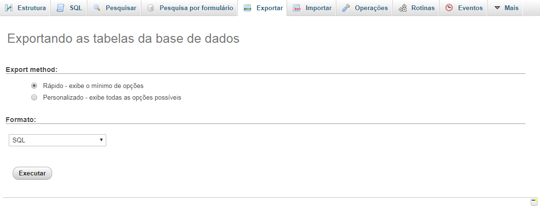 exportar banco de dados